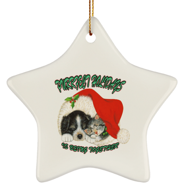 Star White Cat Christmas Ornaments - Dog And Cat In Santa Hat - Cat Christmas Tree Ornament