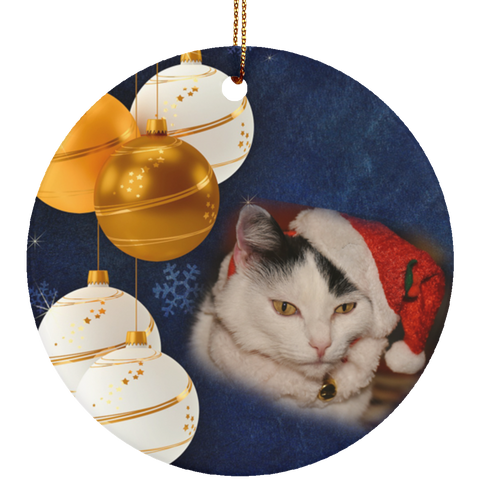 Round white Cat Christmas Ornament