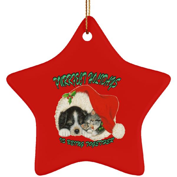Star Red Cat Christmas Ornaments - Dog And Cat In Santa Hat - Cat Christmas Tree Ornament