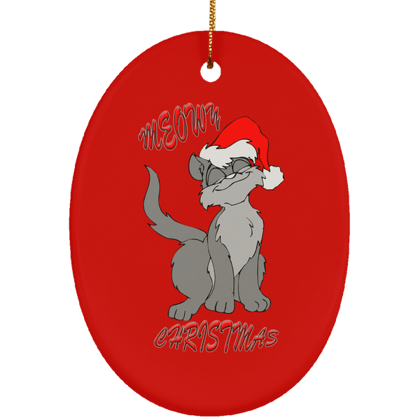 Red Oval gray cat christmas ornament