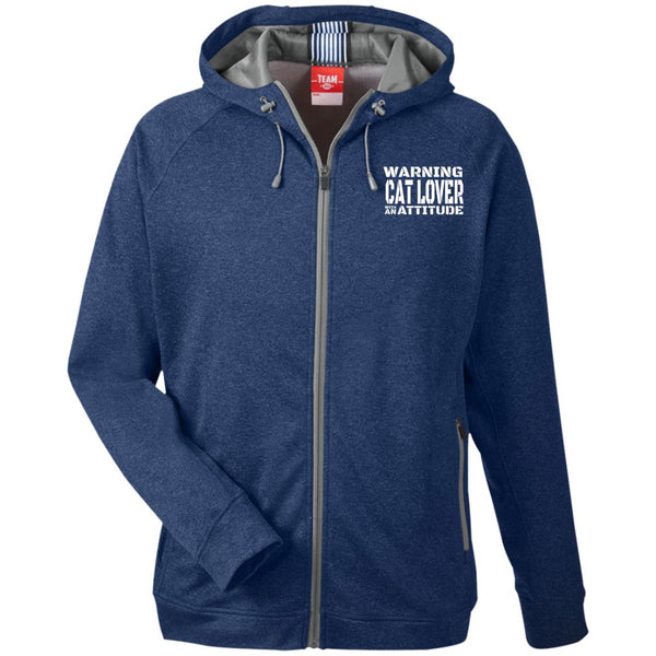 Navy Warning Cat Lover With An Attitude Hooded Jacket