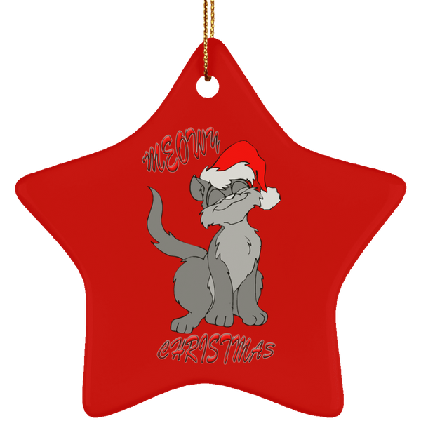 Red Star gray cat christmas ornament