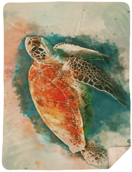 Watercolor Art Sea Turtle Sherpa Blanket 60x80