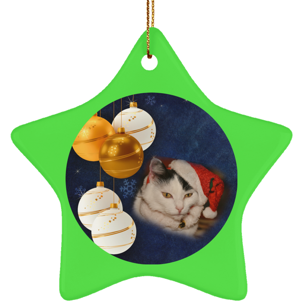 Star green Cat Christmas Ornament