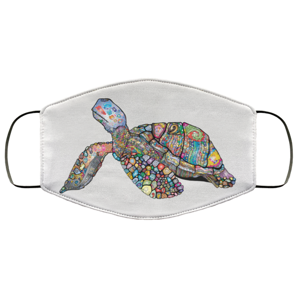 Colorful Sea Turtle Print Face Mask white