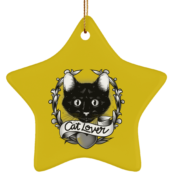Star Golde Ceramic Ornament For Cat Lovers