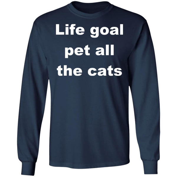 Navy Cat Long Sleeve Shirts - Life Goal Pet All The Cats