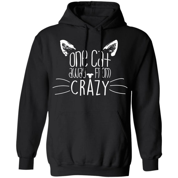 Black Pullover Hoodies For Cat Lovers - One Cat Away From Crazy