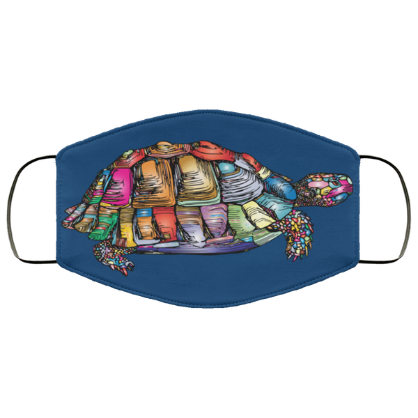 Colorful Turtle Art Face Mask royal blue