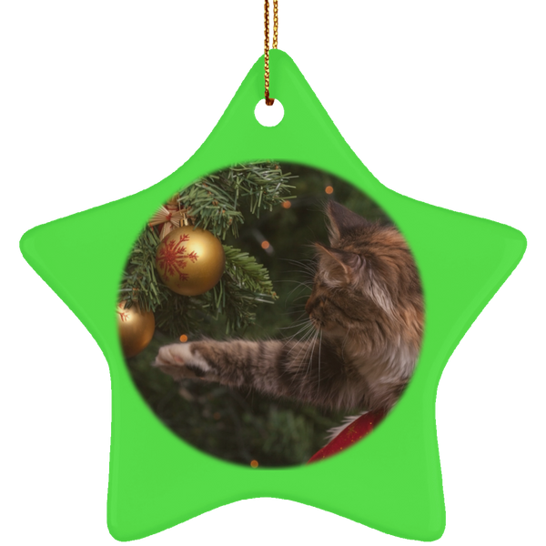 Star Green Ceramic Cat Christmas Ornament - Cat Christmas Tree Ornament - Cat Ceramic Ornament
