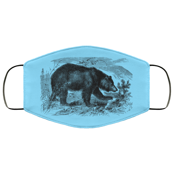 bear pencil art face mask columbia blue