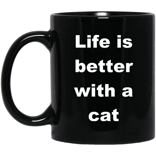 11 oz Black Cat Coffee Mug - Life Is Better With A Cat Ceramic Cup