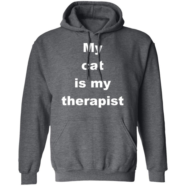 Dark Heather Cat Pullover Hoodie - My Cat Is My Therapist