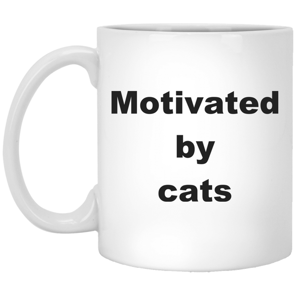 11 oz white Ceramic Cat Mug - Motivated By Cats