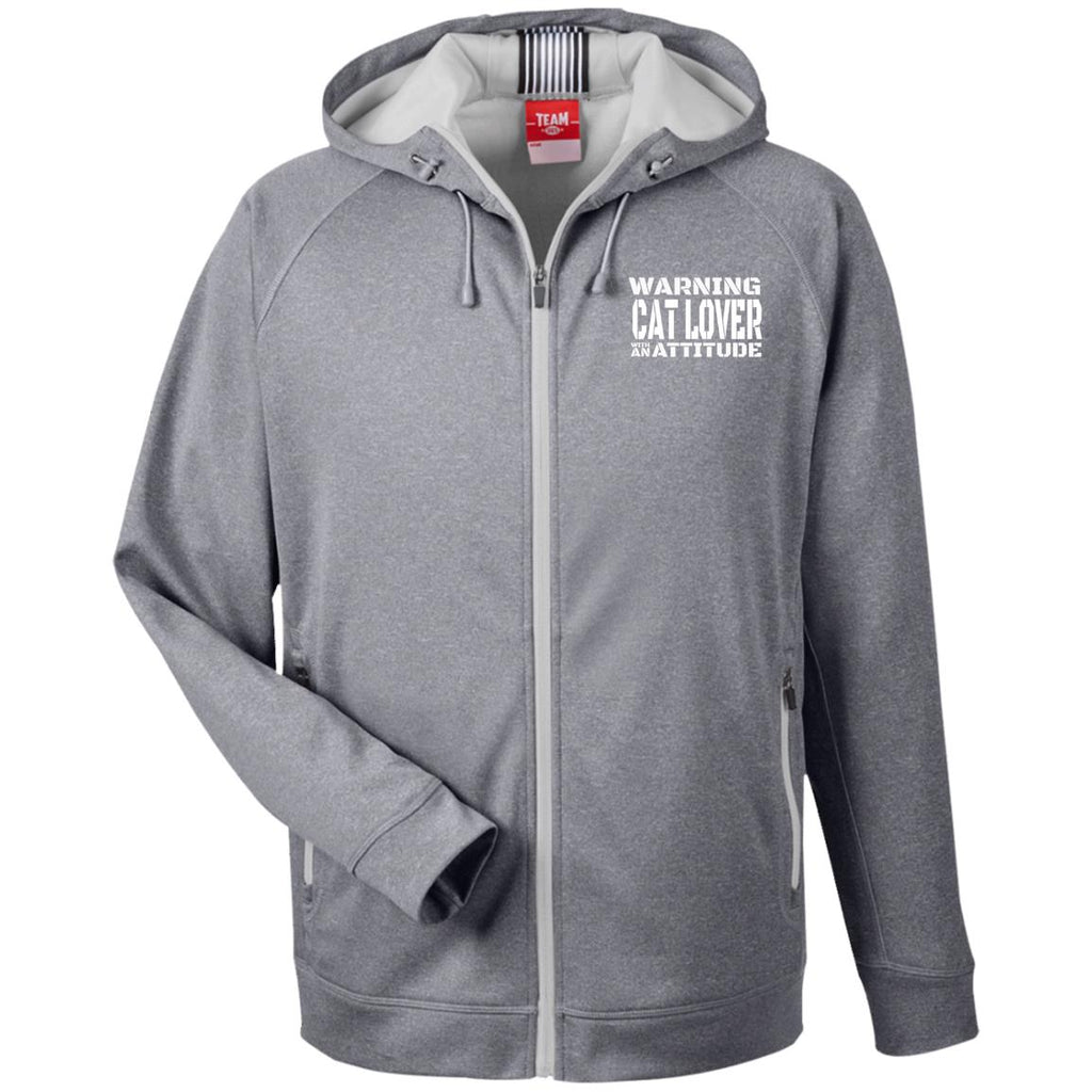 Grey Warning Cat Lover With An Attitude Hooded Jacket