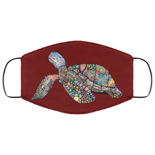 Colorful Sea Turtle Print Face Mask maroon