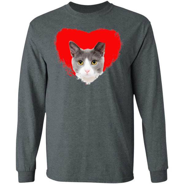 Dark Heather Cat Long Sleeve T-Shirt I Love Cats