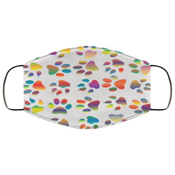 Colorful Paw Prints Face Mask white