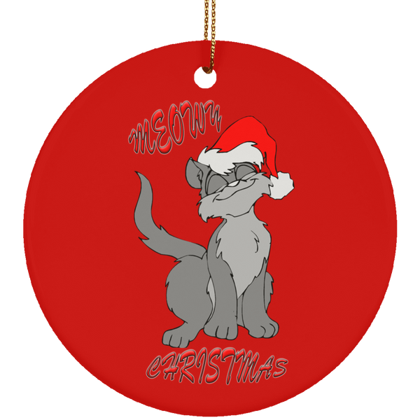 Red Round gray cat christmas ornament