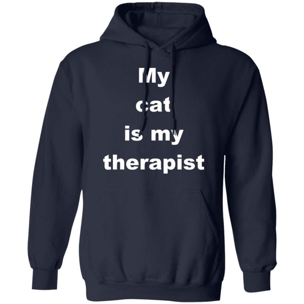 Navy Cat Pullover Hoodie - My Cat Is My Therapist