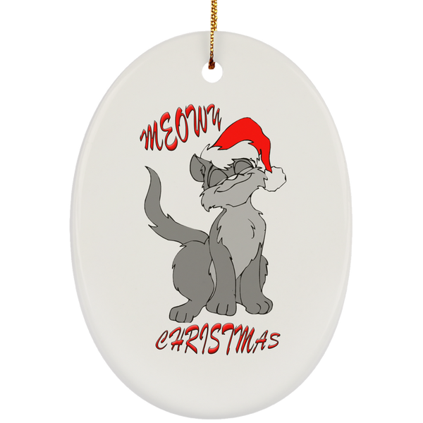 White Oval gray cat christmas ornament