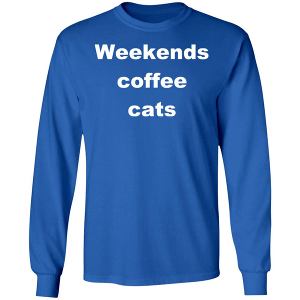 Royal Blue Cat Long Sleeve T-Shirt - Weekends Coffee Cats