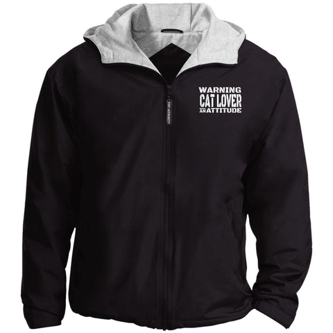 Black Warning Cat Lover With An Attitude Port Authority Team Jacket