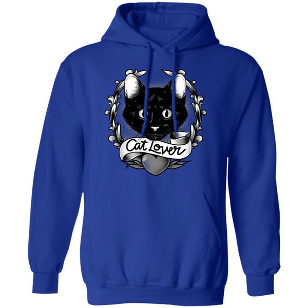 Royal blue Cat Lover Cotton Pullover Hoodie