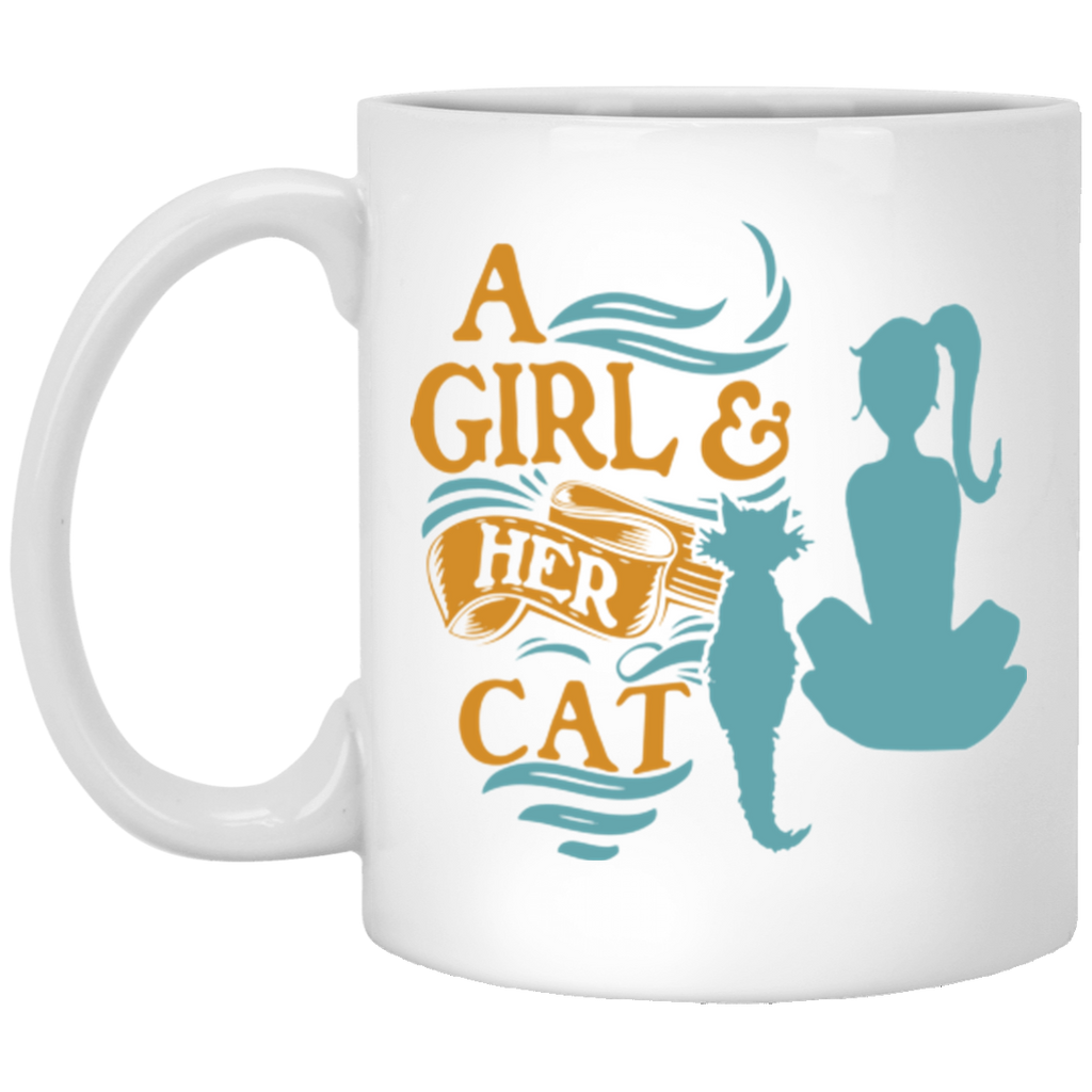 11 oz White Cat Coffee Mug A Girl and Her Cat