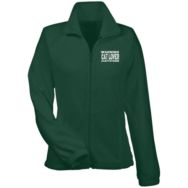 Green Warning Cat Lover With An Attitude Fleece Jacket