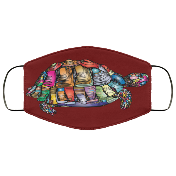 Colorful Turtle Art Face Mask maroon
