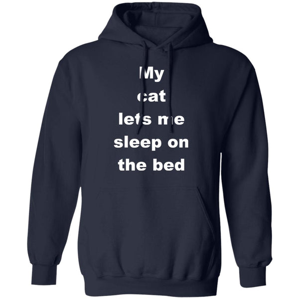Navy Cat Gift Pullover Hoodie - My Cat Lets Me Sleep On The Bed