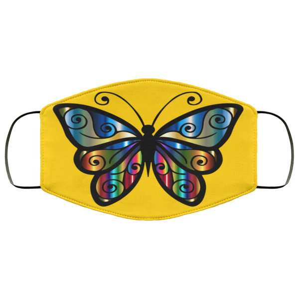 abstract butterfly print face mask gold