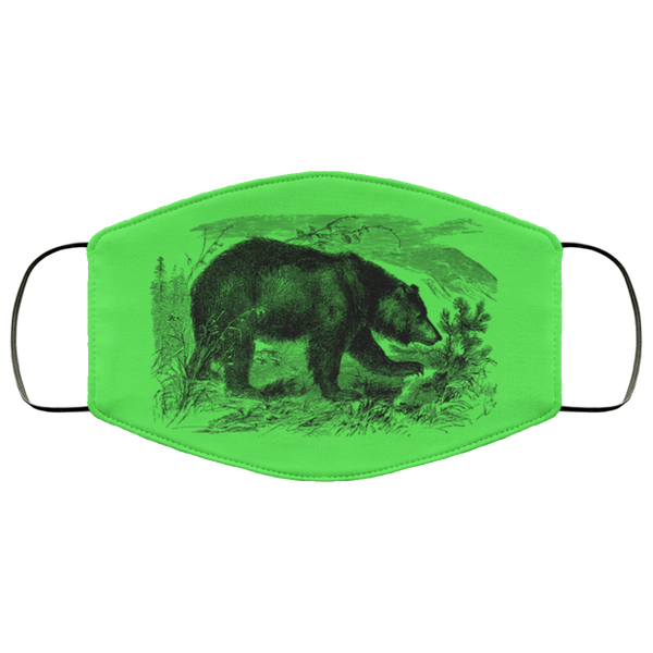 bear pencil art face mask kelly green
