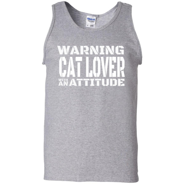 Sport Grey Cat Lover Tank Top - Warning Cat Lover With An Attitude