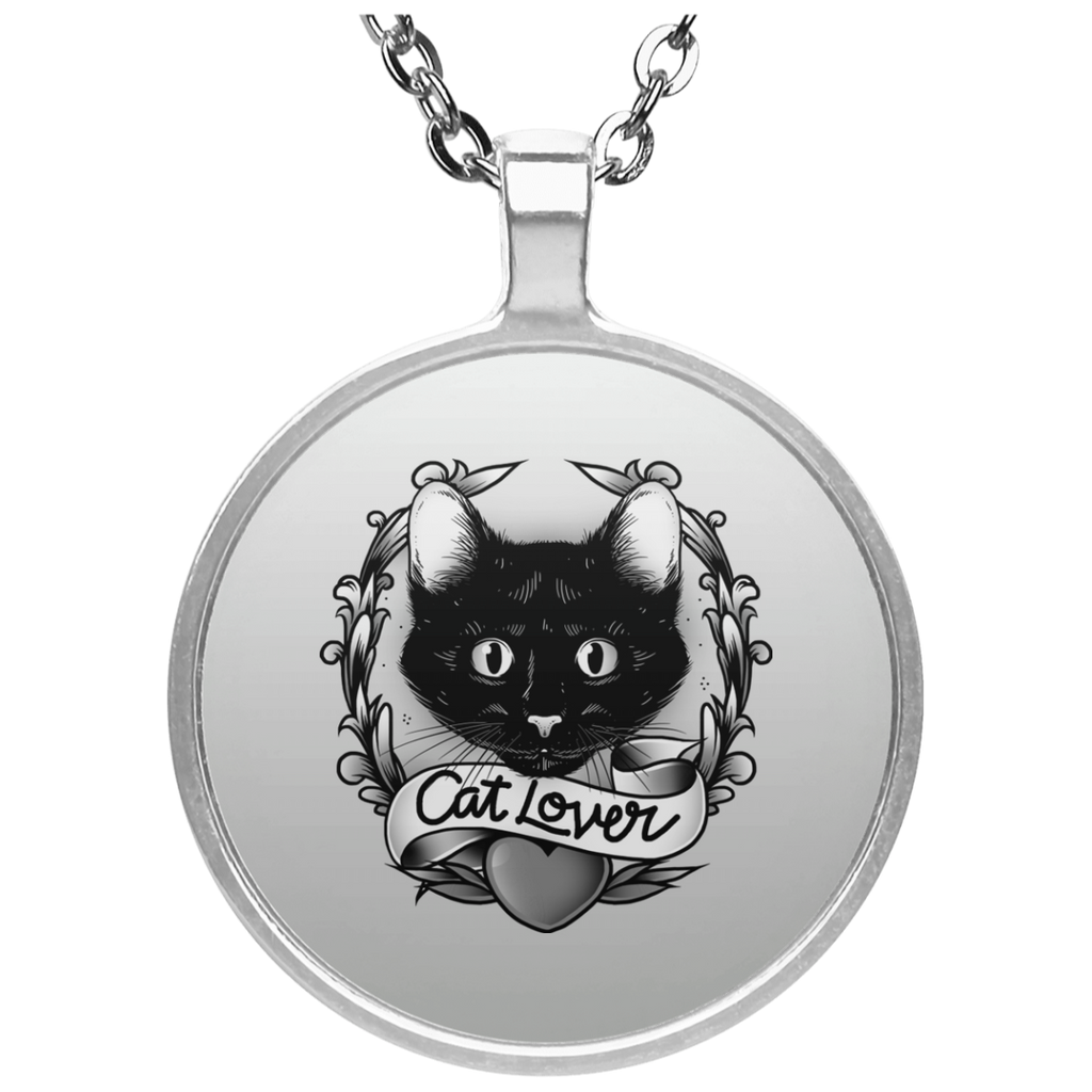 "Round Silver Plated Cat Lover Necklace With 20"" Chain"