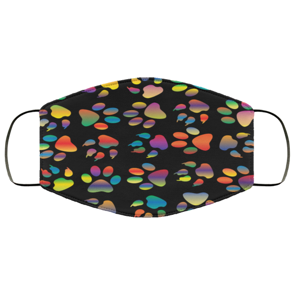 Colorful Paw Prints Face Mask black