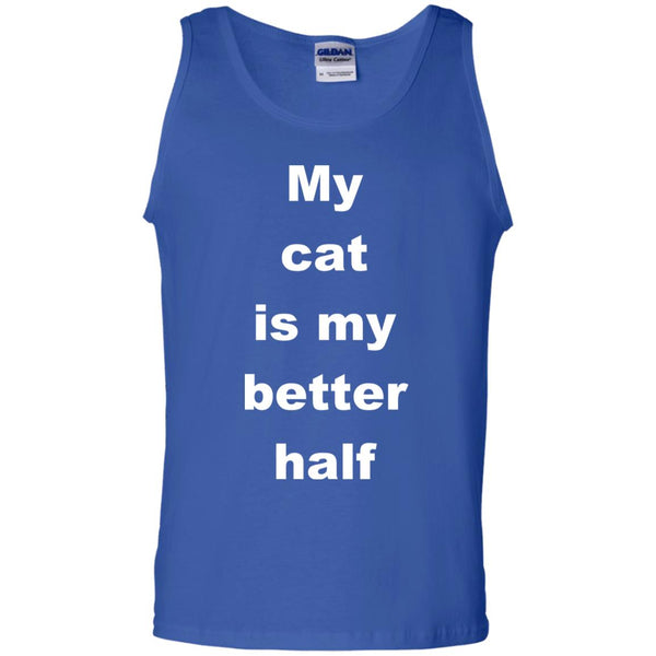 Royal Blue Cat Tank Top - My Cat Is My Better Half