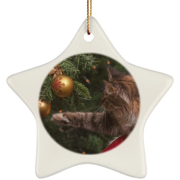Star White Ceramic Cat Christmas Ornament - Cat Christmas Tree Ornament - Cat Ceramic Ornament