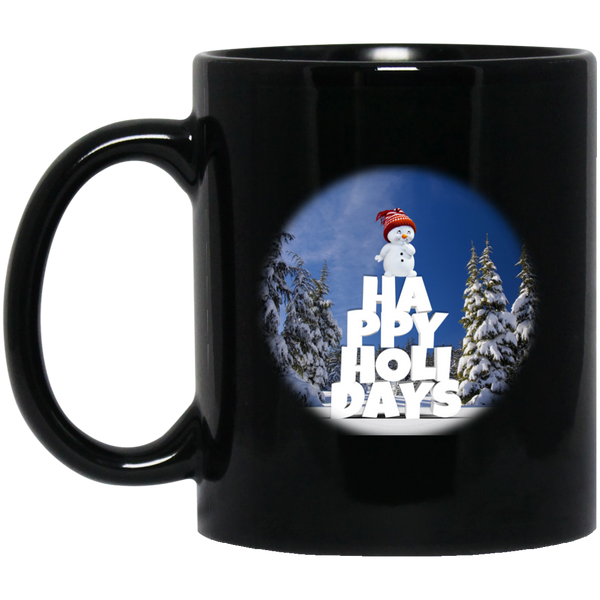 11 oz Black Snow Baby Happy Holidays - Christmas Mug