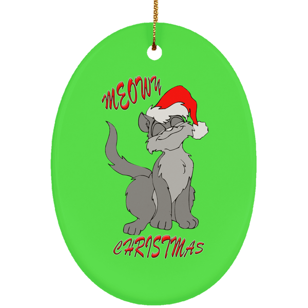 Green Oval gray cat christmas ornament