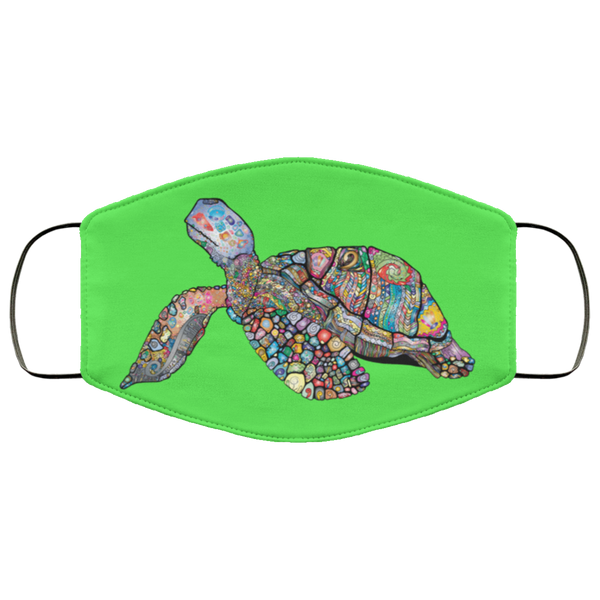 Colorful Sea Turtle Print Face Mask kelly green