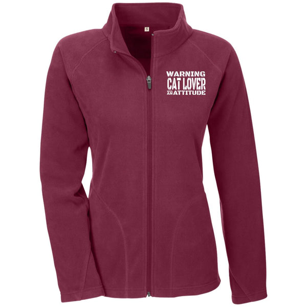 Maroon Warning Cat Lover With An Attitude Microfleece
