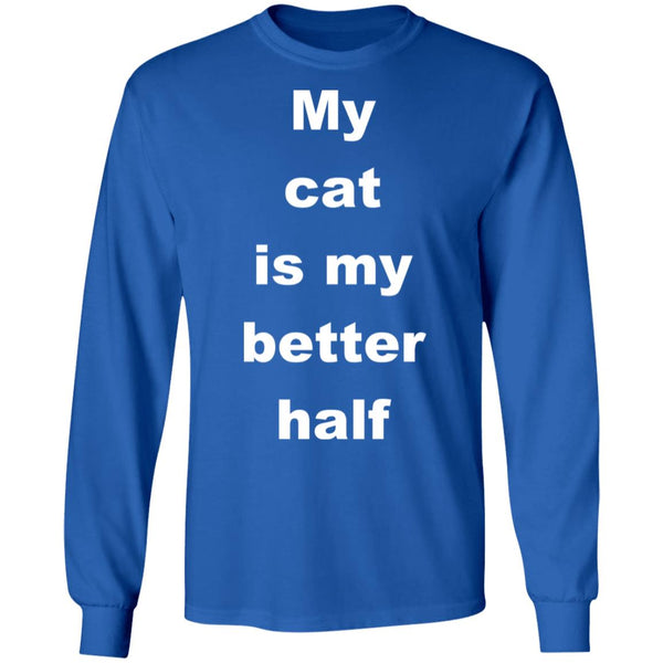 Royal Blue Cat Long Sleeve Tee - My Cat Is My Better Half