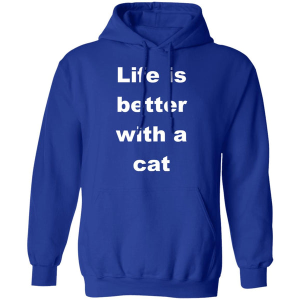 Royal Blue Cat Lovers Pullover Hoodie - Life Is Better With A Cat
