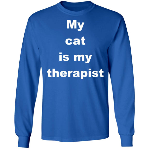 Royal Blue Cat Long Sleeve Tshirt - My Cat Is My Therapist