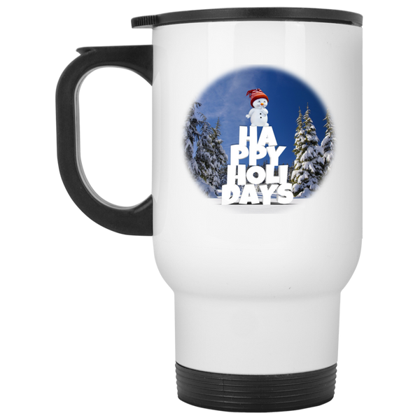 14 oz White Snow Baby Happy Holidays - Christmas Travel Mug