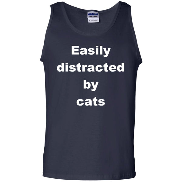 Navy Funny Cats Tank Top - Easily Distracted By Cats