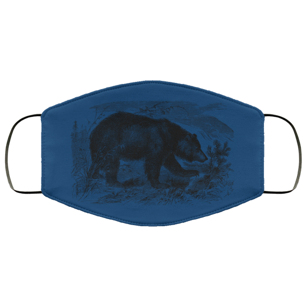 bear pencil art face mask royal blue