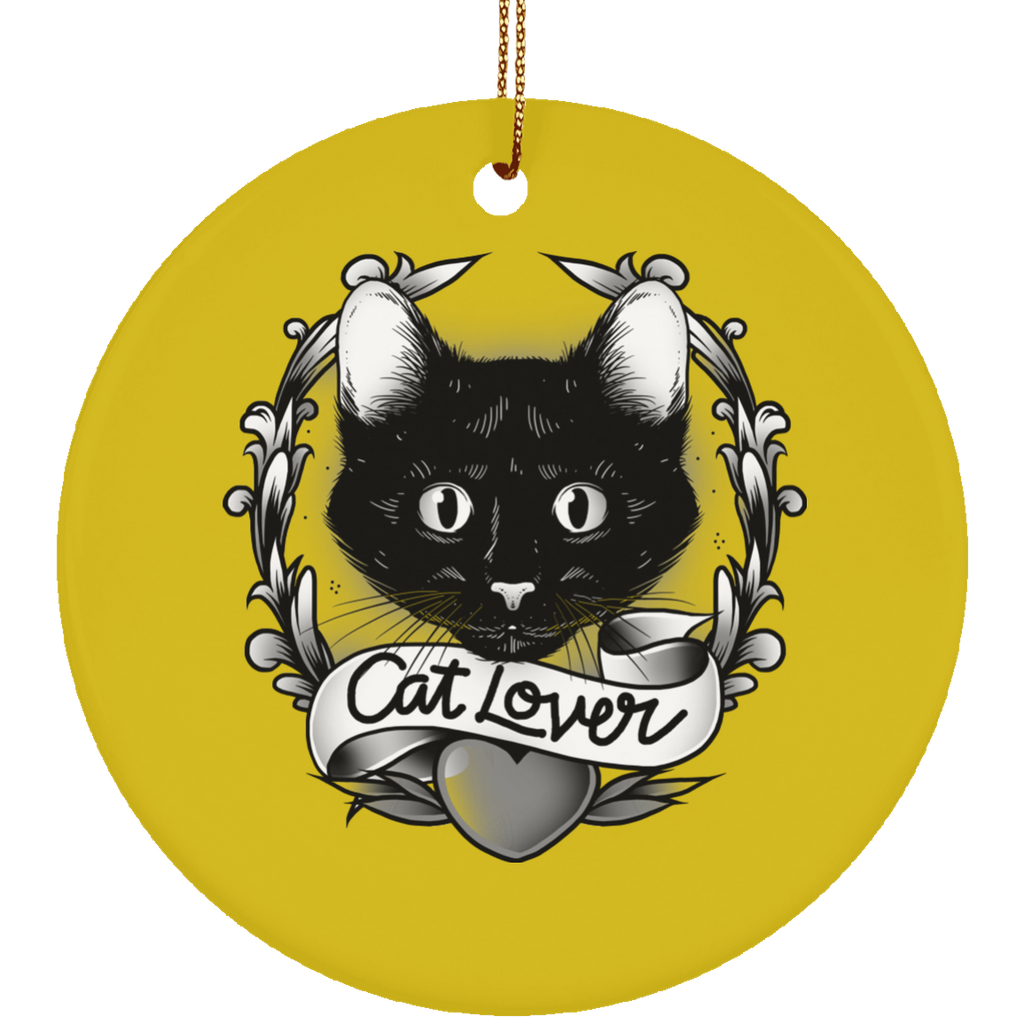 Round Gold Ceramic Ornament For Cat Lovers